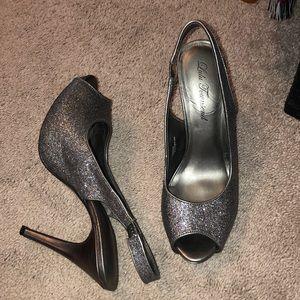 Deep Silver glitter sling back heels